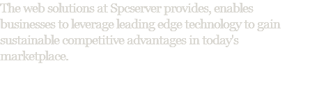 The web solutions at Spcserver provides, enables businesses to leverage leading edge technology to gain sustainable competitive advantages in today's marketplace.